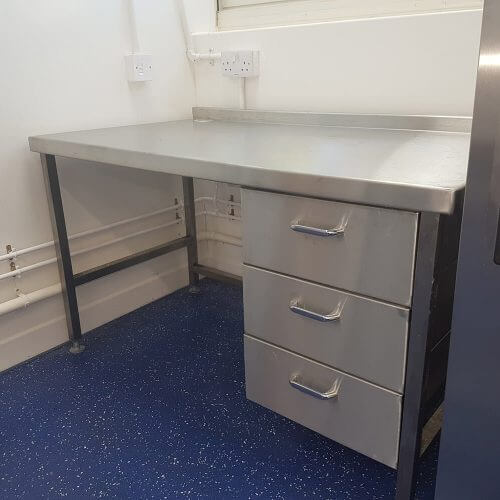 Stainless steel kitchen desk