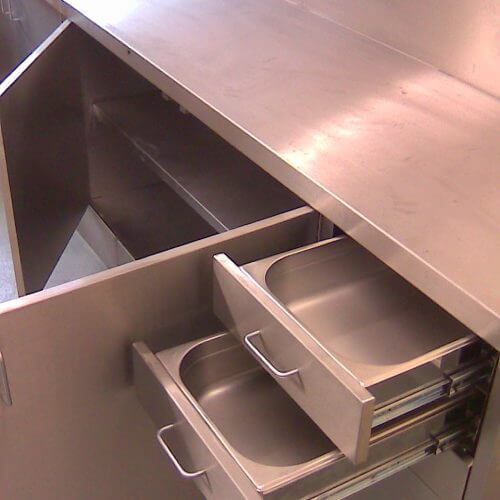 Stainless steel base unit with drawers