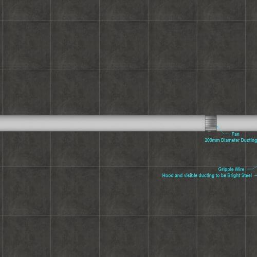 Kitchen ventilation system measurements diagram