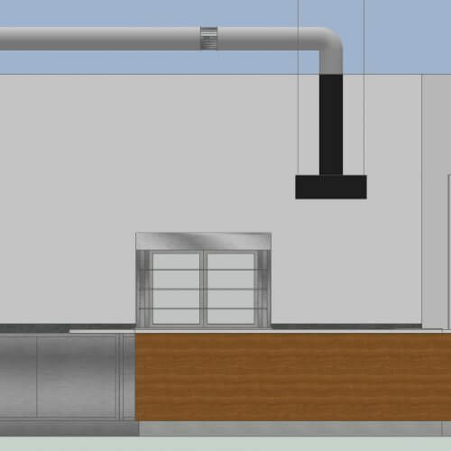 Kitchen ventilation system 3D mockup