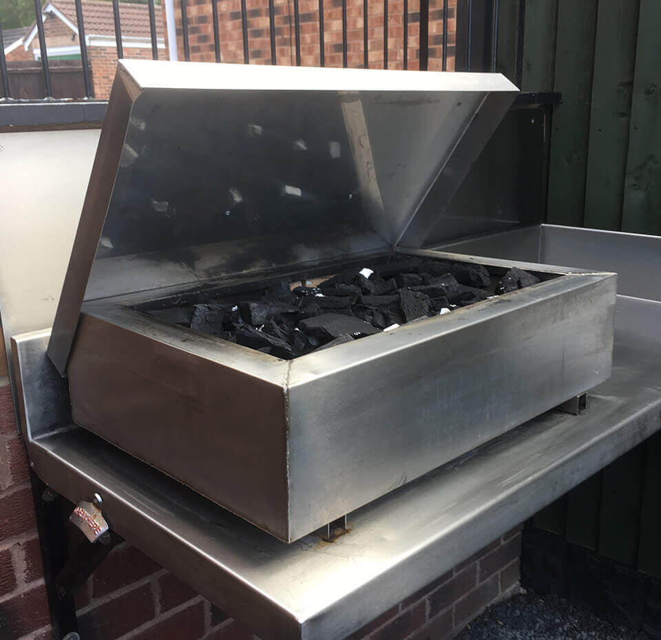 Charcoal grill manufactured by Dolphin Fabrications