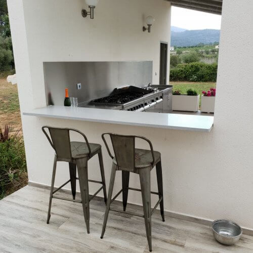 Outdoor kitchen for villa side view