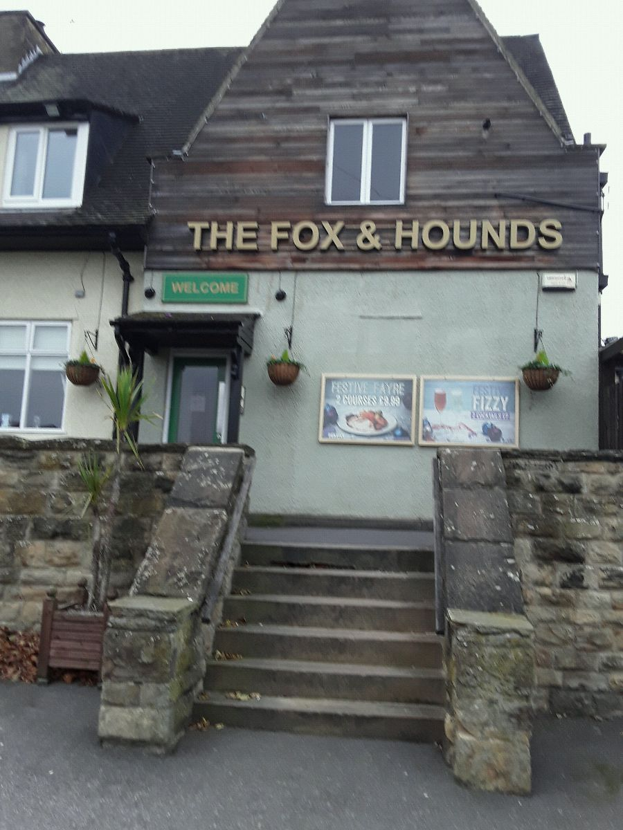 Outside the Fox & Hound pub in Batley