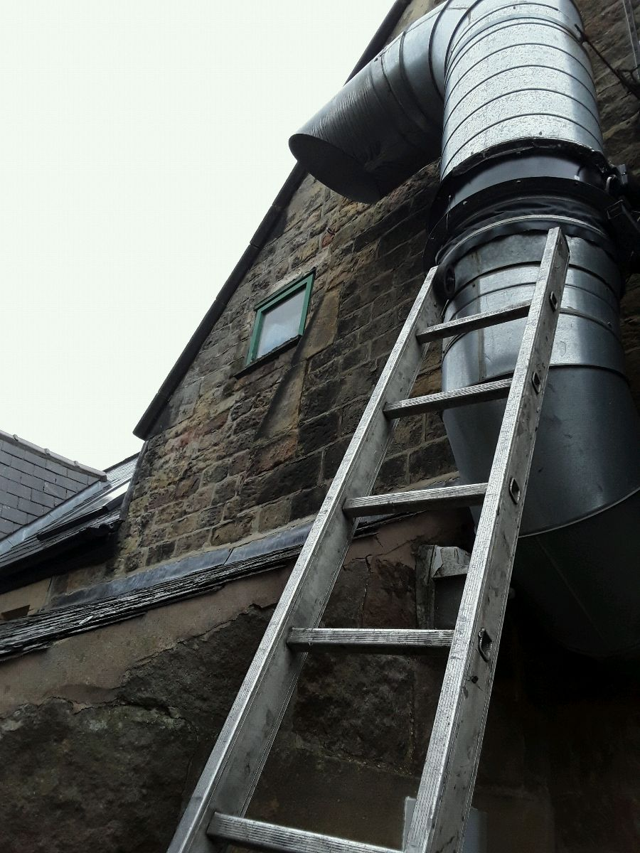 Steel extraction fan fitted at St Michaels School in Hathersage