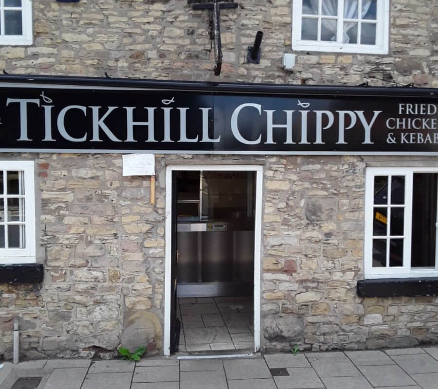 A photo of Tickhill Chippy in Doncaster. This is an old cottage style building which has been turned in to a fish and chip shop