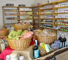 Inside Marr Grange Farm & Tea Rooms, shelves and tables filled with local wares.